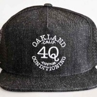 "4Q ""LOGO"" メッシュキャップ 【4Q CONDITIONING】BLACK DENIM"