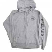 """4Q LOGO"" スリーブプリントZIPHOOD 【4Q CONDITIONING】GREY"