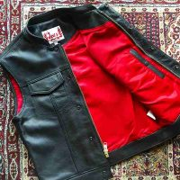 Joe's Vest with Hidden Zipper【 LIL JOES LEGENDARY LEATHERS】RED LINING